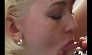 Slutty lesbian beauties are opening up and fisting assholes