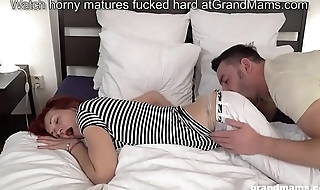 Skinny redhead grandma picks up boy and licks his big cock