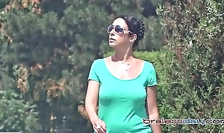 Candid Braless Girls with Bouncing Boobs