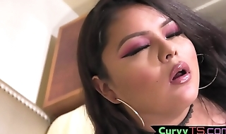 Cute chubby trans chick tugs her penis