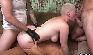 Natural busty babe anal gangbanged