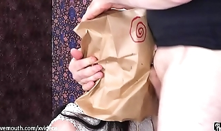 Bagged and gagged -- hard mouth fucking and rimming