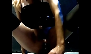 Stephanie Smith riding black dildo and cumming