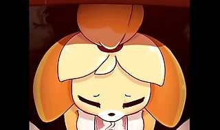 Animal Crossing Isabelle Sucking the Mayor'_s Hard Weasel words