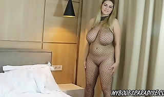 Erin Star busty babe in bodystockings with Magic Wand
