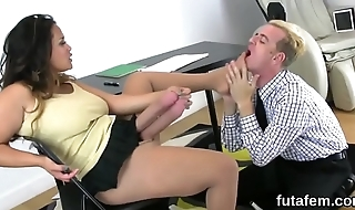 Nymphos drill boyfriends anal with big strap-on dildos and splash load