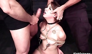 Clamped nipples slave pussy zappered